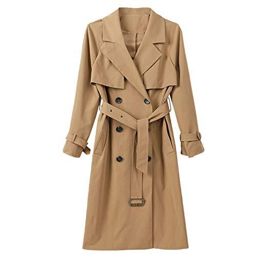 Nobrand Frühling Damen Klassische Doppelreiher mittellang Damen Windbreaker Anzug Kragen Mantel Frauen Gr. Large, khaki