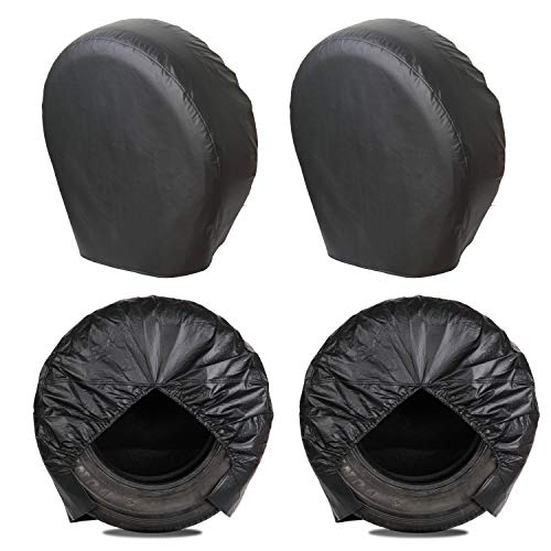 MOONET Tough Tire Covers for RV Wheel(4 Pack), Heavy Duty Thicken Sun Protectors for Truck Motorhome...