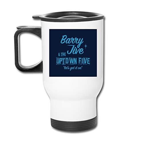 Barry Jive and The Uptown Five Doppelwandiger Vakuum-Kaffeebecher mit spritzwasserfestem Deckel für heiße und kalte Getränke