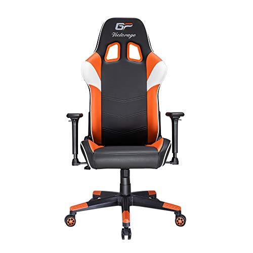 VICTORAGE Gaming Chair GP Series- Professional & Textured- Gaming/Streaming - Long time Sitting- Inspired by Racing car- Ergonomic Design- Rocking Function (Orange) chair gaming orange