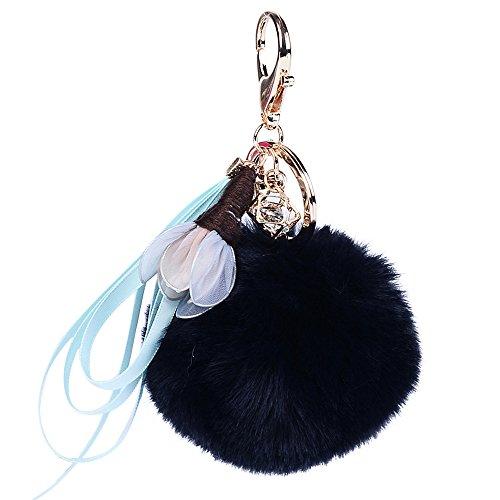 Alaso Portes-clés,Keychain, 8cm Artificiel Boule De Fourrure Porte Clef Voiture Hanging Keyring Trousseau Téléphone Sac Pendentif