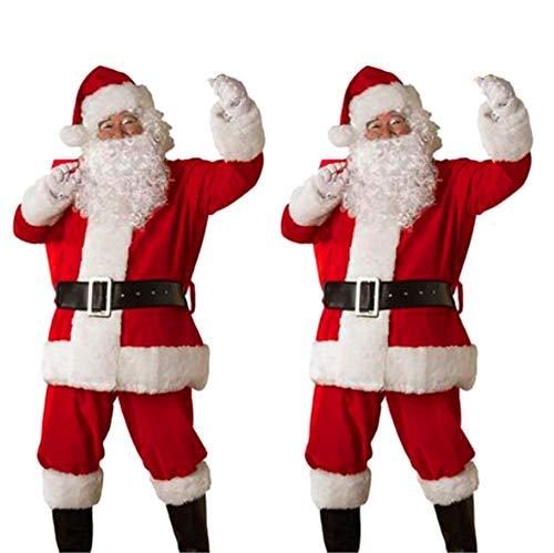 UFODB Weihnachtsmann Kostüm Herren Nikolaus Anzug Erwachsenen Santa Claus Cosplay Verkleidung Nikolauskostüm Für Weihnachten Mantel +...