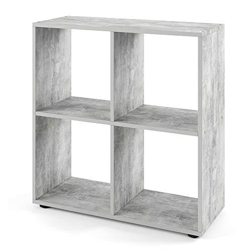 Vicco Bücherregal Tetra 4 Fächer Raumteiler Standregal Aktenregal Aufbewahrung (Beton)