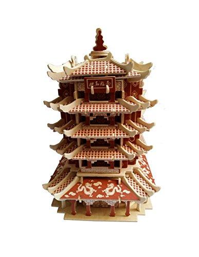 Yellow Crane Tower Three-Dimensional Bâtiment d'assemblage manuel Modèle enbois