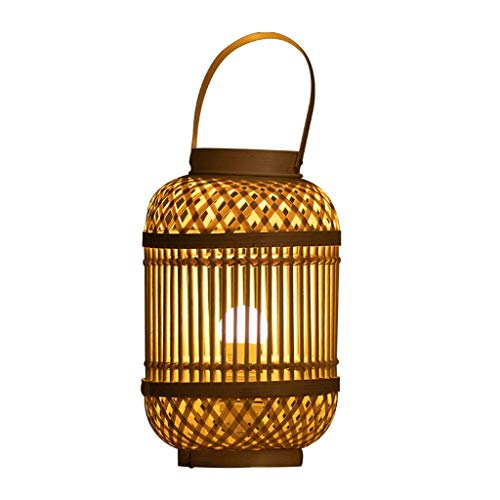 YNHNI Lámpara de Mesa de iluminación/de Escritorio Multifuncional Lámpara de Mesa de bambú de Tejido a Mano, Sala de Estar Habitación de Estudio Café Art Deco Iluminación Lámparas de Mesa Modernas
