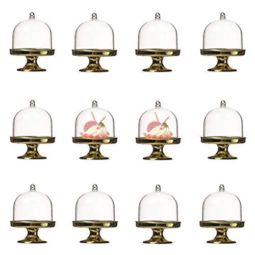 Toruiwa 12 mini alzata per torte con campana, 5 colori, bomboniera per matrimonio, compleanno, decorazione da tavolo (oro)