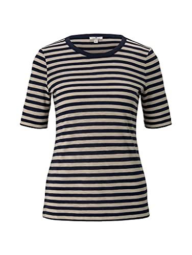 Tom Tailor Streifen Melange Camiseta, Navy 24767-Juego de Mesa de Mezclas, XL para Mujer