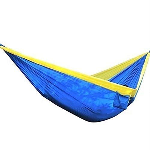 GZSC Hamac léger en Nylon Superbe de hamac 210T accrochant de hamac Grand Parachute léger for Le Camping extérieur Plage de Survie Cour 320 * 200cm (Color : Blue Yellow)