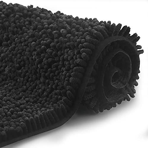 FCSDETAIL Tapis de Bain Antidérapant à Poils Longs en Microfibre Chenille 60X90 cm, Tapis de Sol Lavable en Machine avec Microfibre Chenille Douce Absorbant l