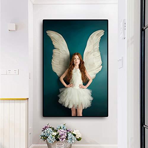 WSWWY Girl Flowers Feather Portrait Pintura al óleo sobre Lienzo Pop Art Carteles e Impresiones Scandinavian Wall Picture for Living Room (Sin Marco) 50x70CM