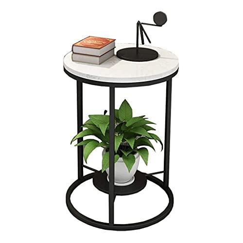 FENXIXI Tabla-Muebles Lado Moderna Ronda Lado del Extremo Mesa Decorativa de la Sala, mármol, Dimensiones: 40 x 55 cm (Color : Black)