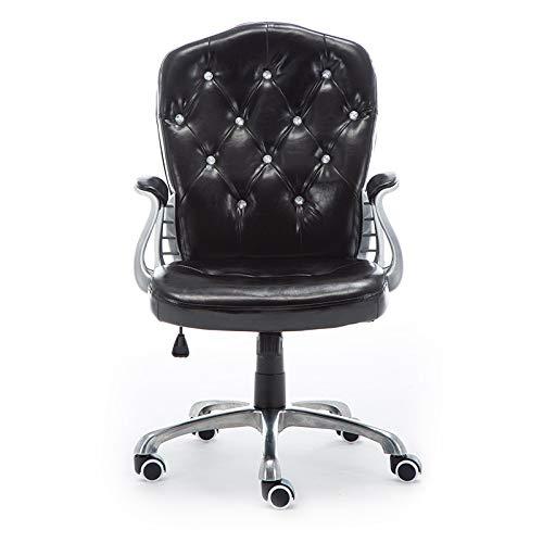 Esszimmer Küchenstühle Verstellbarer Bürostuhl PU-Leder Computer Stuhl Gepolsterter Schreibtisch Komfort Mit Sessel Rückenlehne Stuhl,Black