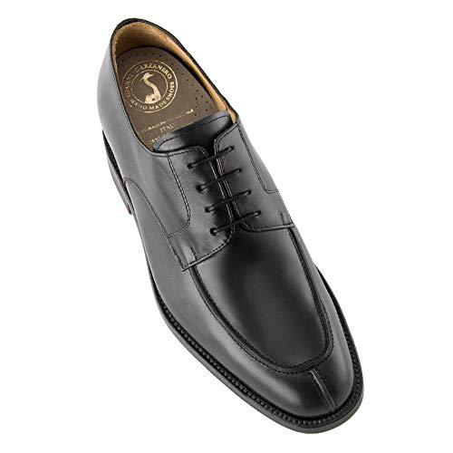 Zapatos de Hombre con Alzas Que Aumentan Altura hasta 7 cm. Fabricados en Piel. Modelo Burdeos Negro 42