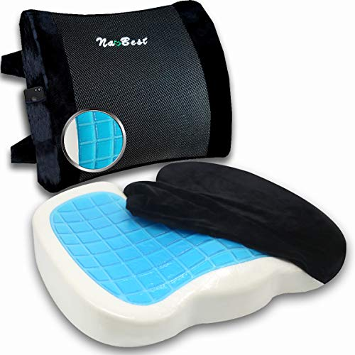 Set: Seat Cushion & Lumbar Support Pillow Orthopedic Memory Foam + Cool Gel for Office Chair, Car, Wheelchair with Adjustable Straps Washable Covers Black