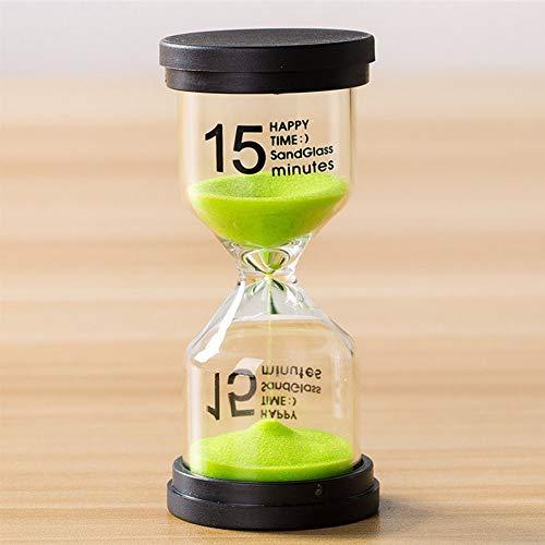 Reloj arena Regalo para niños Adornos escritorio decorativos Reloj arena 5/10/15/30 Mins Adornos para el hogar Temporizador arena Temporizador cocina(15 minutosVerde)