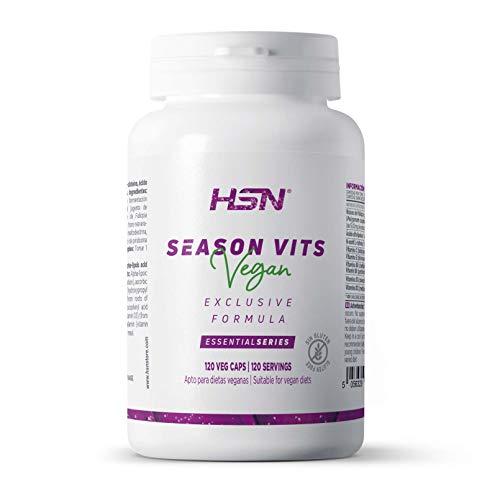 Vitaminas Cambio Estacional de HSN | Season Vits Vegan | Suministro 4 Meses | Con ALA, NAC, Resveratrol, Vitamina C, D3, E, B6, B12 | Vegano, Sin Gluten, Sin Lactosa, 120 cápsulas vegetales