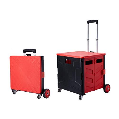 GXYAWPJ Utilidad de la Compra Plegable Plegable portátil cajón rodante de carros de Mano con 3 Color plástico Durable Plegable 4 Girar Las Ruedas for Mover Las Maletas (Color : Red)