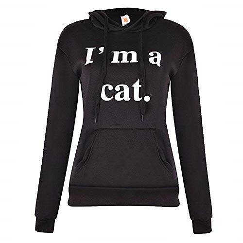 Lovelegis Felpa Donna Gatto - I'm A Cat - Cappuccio e Tasche - Ragazza - Idea Regalo Originale- Colore Nero - Taglia XXL