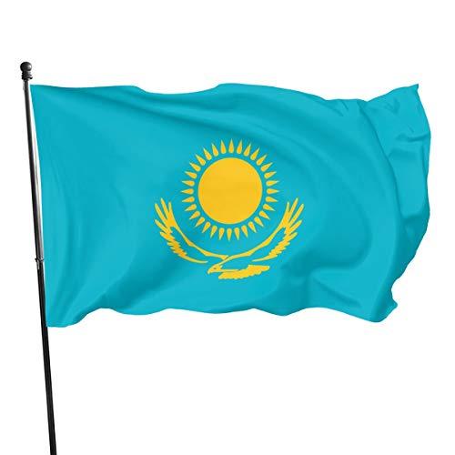 Kazachstan Vlag(de Union Jack) 3 X 5 Ft (150x240cm) Polyester -Levendige kleur en dubbel gestikte nationale vlaggen 100% Polyester Banner voor buiten