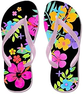 Tropical Flowers Flip Flops for Kids Adult Beach Sandals Pool Shoes Party Slippers Black Pink Blue Belt for Chosen