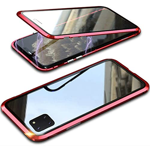 RAYOO Hülle für Samsung Galaxy Note 10 Lite,Magnetische Adsorption Metallrahmen 360 Grad Komplettschutz Handyhülle Vorne hinten Gehärtetes Glas Transparente Schutzhülle Einteiliges Full Body Hülle,Rot