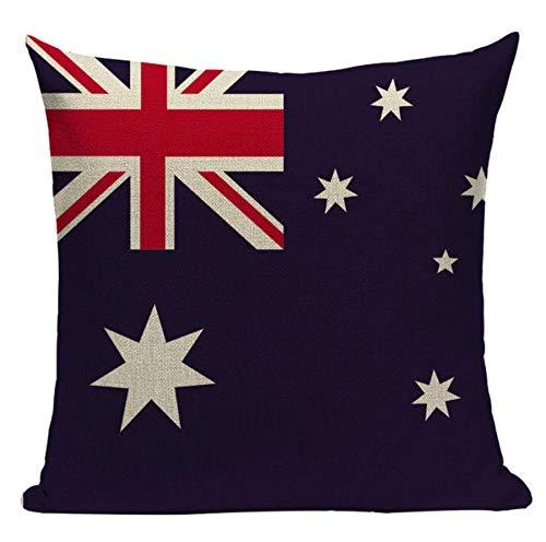 'N/A' Funda de cojín de la bandera australiana, patriótica, reina, país, koala británica, canguro, interior de la bandera de Reino Unido, azul, inglés marítimo