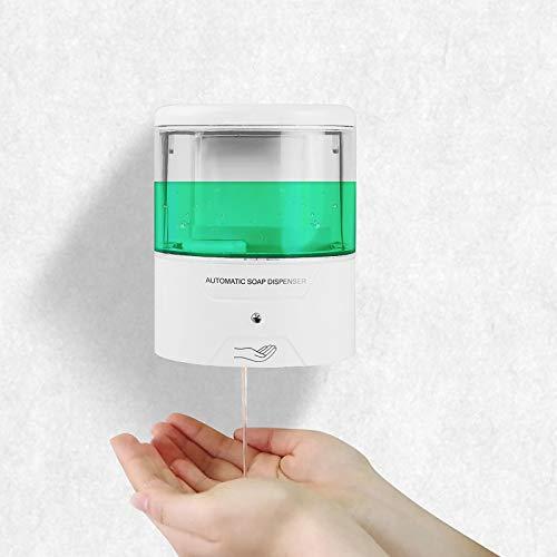 SUNJULY 600ml Dispensador de jabón, 1PC Automático Pared dispensador de desinfectante Sensor de Infrarrojos Alimentado por batería Sin Contacto para baño Cocina Baño Hospital Escuela