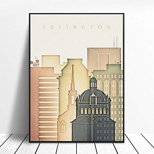 shuimanjinshan Lexington Kentucky Skyline Art Canvas Poster Decoración del Hogar Pintura Sin...