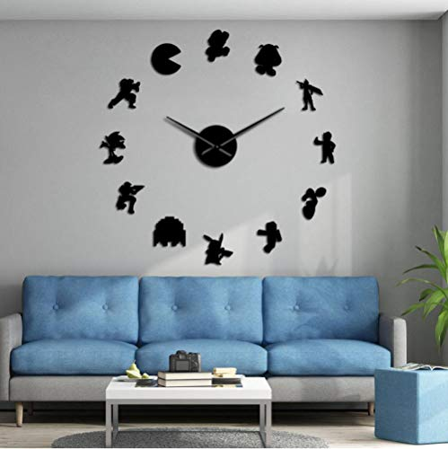 tyjsb Retro Video Game Characters DIY Wall Stickers Large Mute Wall Clock Geeky Nerdy Game Room Decor Giant Watch Timepiece Gamer Gift 37inch