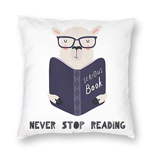 Square Throw Pillow Covers University Reading's Llama Pillow Cases Bed Christmas Decorative Cushion Covers