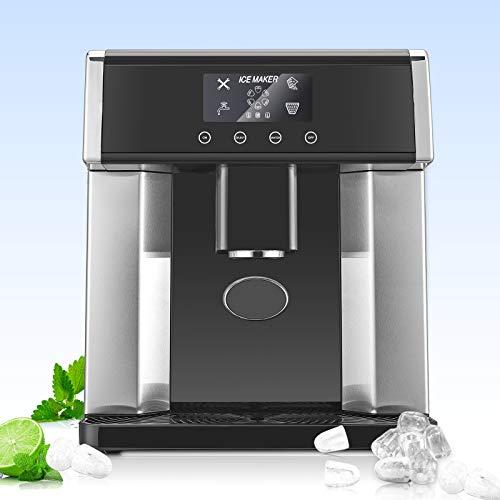 TTLIFE Macchina per la produzione di ghiaccio da 1,8 litri Macchina per cubetti di ghiaccio portatile compatta da bancone, distributore di acqua fredda 2 in 1 e macchina per la produzione di cubetti