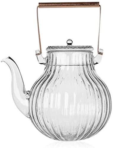 Bouilloire induction Home Théière en verre Verre Pot De Fleur Tasse à thé Pétales Cuivre Poignée de cuivre Thé de verre résistant à la chaleur pour bureau extérieur 890ml WHLONG
