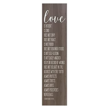 LifeSong Milestones Love Is Patient, Love is Kind Decorative Wall Art Decor Sign for Living Room, Entryway, Kitchen, Bedroom,Office, Wedding or Anniversary Gift Idea (Salt Oak)