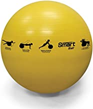 Prism Fitness 55cm, Yellow Smart Self-Guided Stability Ball – Exercise Ball for Exercise, Yoga, Pilates, Office Ball Chair and More, 13 Exercises Printed on Ball for Easy Reference