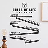 7 Rules of Life Inspirational Wall Decals Inspirational Vinyl Wall Decor Decals Quotes Motivational Wall Quote Sayings Wall Stickers for Bedroom or Home Office