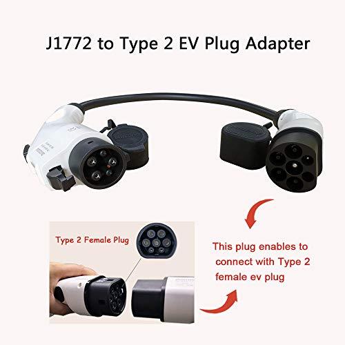 Adaptador para Vehículo Eléctrico Tipo1 a Tipo 2 32Amp EV Cable de Carga para Coche Eléctrico, SAE J1772 a IEC 62196-2, Conectar Vehículos Estándar Estadounidenses (EVSE, 0.2M TUV Cable)