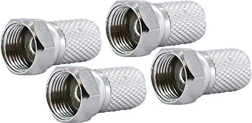 Schwaiger GmbH SCHWAIGER -FST7004 531- F-Aufdrehstecker 4-er Set/ 7 mm Durchmesser/für Koaxialkabel/Verbindung von Stecker und Kabel/ 4 Stück/Silber