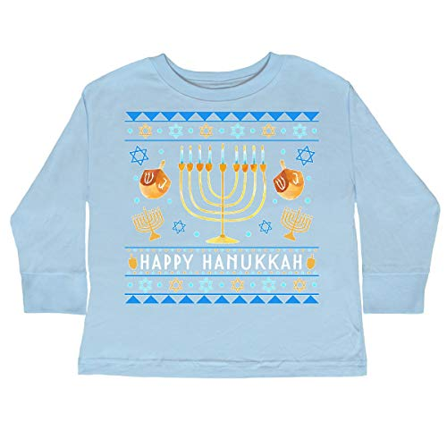 inktastic Happy Hanukkah Sweater Toddler Long Sleeve T-Shirt 3T Light Blue 3d422