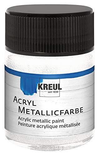 Kreul 77579 - Acryl Metallicfarbe, glamouröse Acrylfarbe mit Metalliceffekt auf Wasserbasis, cremig deckend, schnelltrocknend und wasserfest, 50 ml Glas, perlmutt weiß