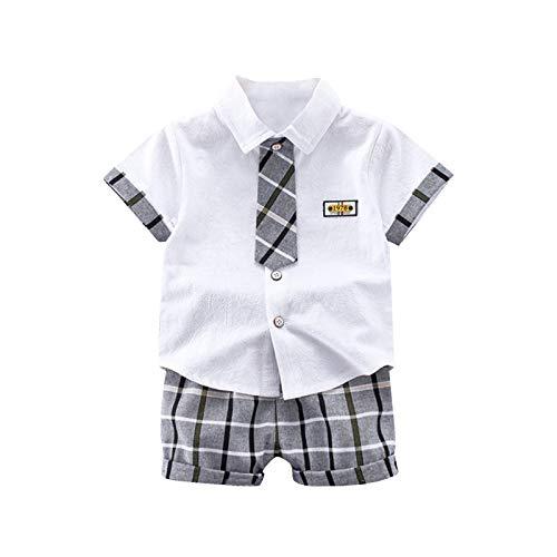 Gentiluomo - Conjunto de verano para niño de 1 a 4 años, 2 piezas, camisa polo de manga corta con corbata + pantalones cortos de plaid gris Color blanco. 3-4 años