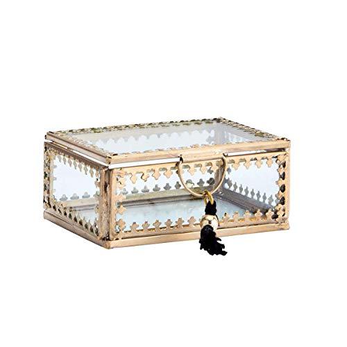 Madam Stoltz Glasbox Schatulle Schmuckdose mit Deckel Aufbewahrung mit Ornament Borte und Quaste Gold klein 6,5 x 9 cm Glas transparent Deko Boho Ethno
