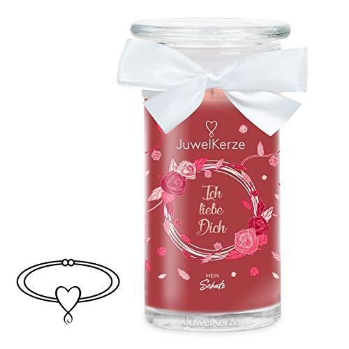 JuwelKerze Ich Liebe Dich, große Duftkerze (Rose, 1020g, 95-125 Std. Brenndauer) in Rot mit 925er Sterling Silber Schmuck, Armband, Kristalle von Swarovski