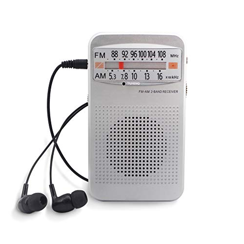 compact fm radios Small Pocket Radios, Battery Operated AM FM Radio - Loud Speaker Great Reception, Portable Transistor Radio for Walking, Camping, Outdoor with Earphones