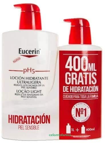 Eucerin  Loción Hidratante Ultraligera  Family Pack: 1000 ml. + 400 ml. de Regalo (Total 1400 ml.)