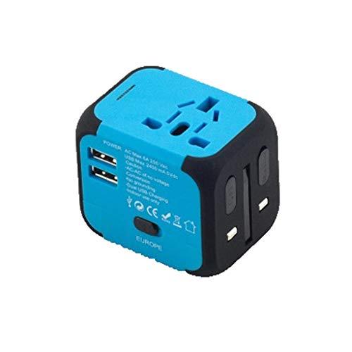 Adaptador de corriente universal para viajes inter Creative Mini Toma de conversión multifunción multifunción, 2 puertos USB Accesorios de viaje multimolinentes Suministros esenciales de viaje Adaptad