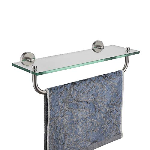 JQK Bathroom Glass Shelf, Shelf with 16 Inch Towel Bar Tempered Glass Shower Storage 16 by 5 inches, 304 Stainless Steel Brushed Finish Wall Mount, TGS100-BN