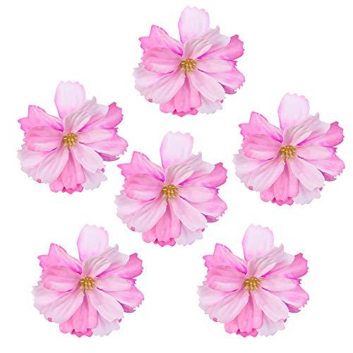 Framendino, 50 Pack Artificial Cherry Blossom Flower Heads Mini Silk Plum Peony Daisy Decor DIY Flower Decoration for Home Wedding Party Car Wreath Clip Handmade Accessories