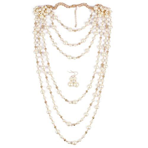 YAZILIND Multilayer Bridalry Set Imitation Pearl Collar con Pendientes Boda Accesorios Gatsby Accesorios Traje