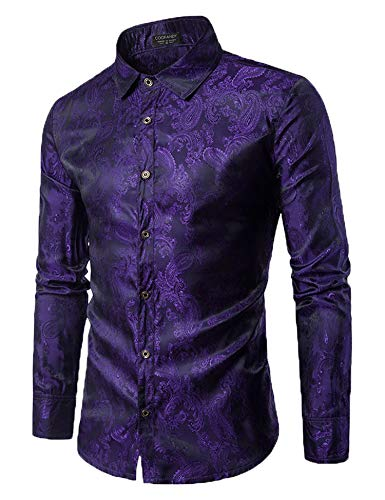 COOFANDY Men's Long Sleeve Satin Luxury Printed Silk Dress Shirt Dance Prom Party Button Down Shirts(Purple,M)