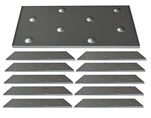Flat Connecting Joining Plate Galvanised Heavy Duty Metal Steel Sheet 3.15'x1.57'x0.08' (80 x 40 x 2mm) Pack of 10pcs